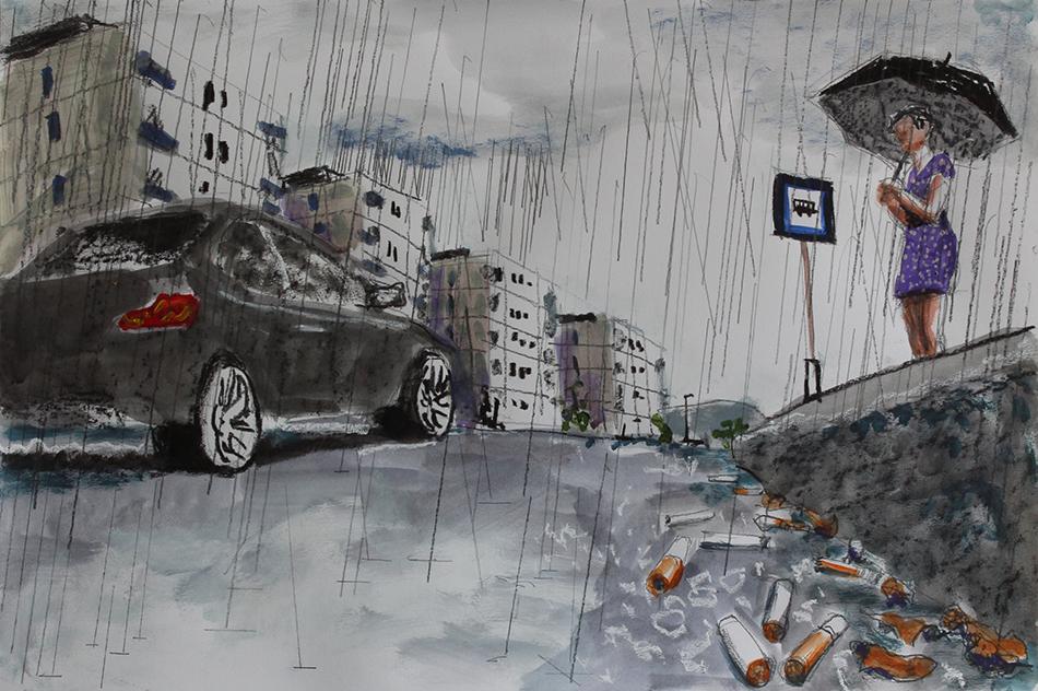 Zeichnung einer Frau am Straßenrand mit Schirm bei Regen. Zeichnung Csaba Nemes