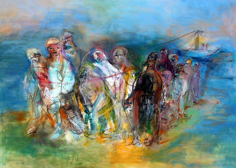 Bild: Obaidah Zorik. Acrylic on canvas, 90 x 90 cm, 2017.