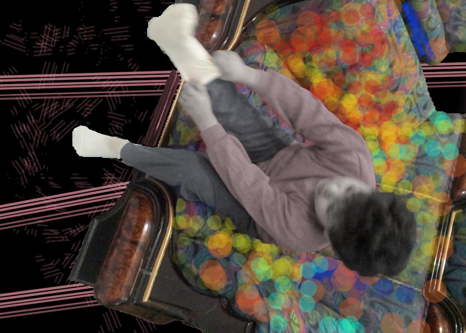Collage von Majd Suliman, Junge, der sich Socken anzieht.