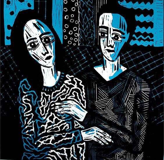 Linolcut from Layali Alawad (2013).