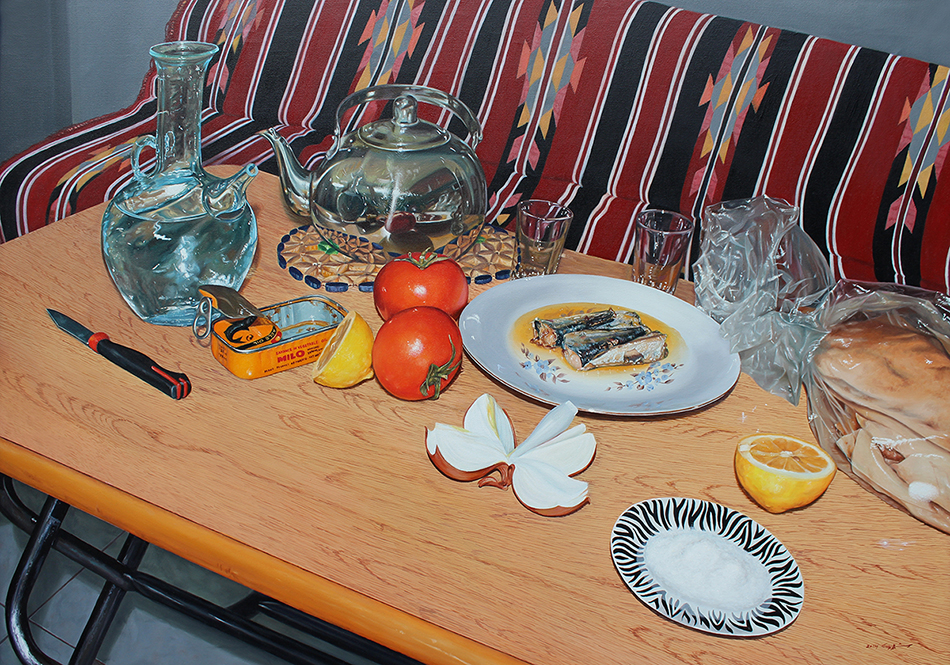 Bild von Abdul Razzak Shaballout, Waiting you for dinner, Öl auf Leinwand, 100 x 170 cm (2013)