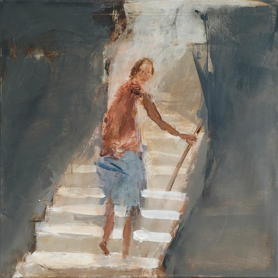 Malerei von Nasser Hussein zum Text von Ahmad Katlesh, Angelehnte Türen für Weiter Schreiben