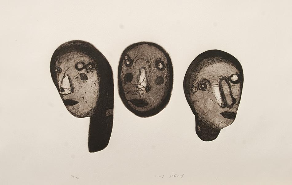 Bild zum Text von Lina Atfah vonYaser Safi, Radierung, 20 x 30 cm (2009)