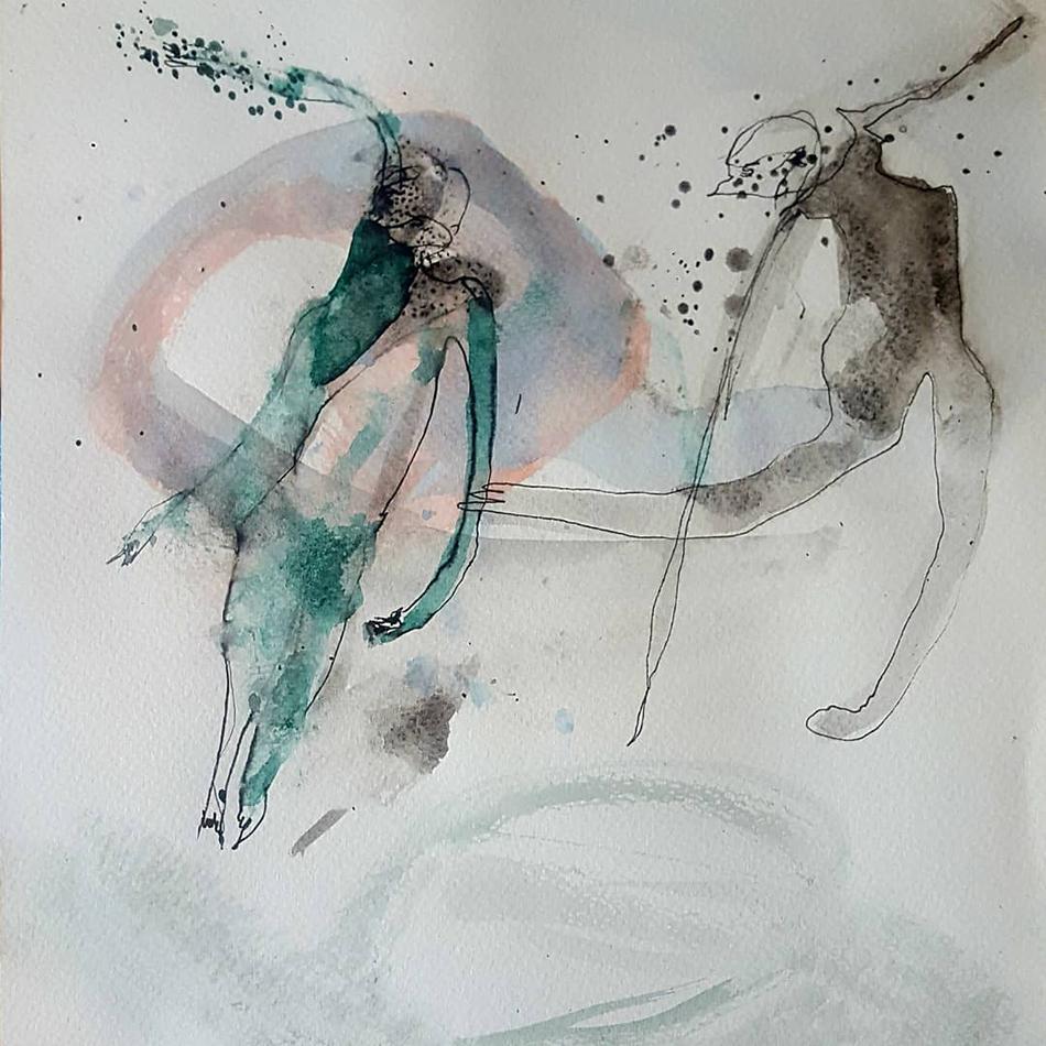 Farbige Zeichnung mit sich bewegenden Figuren von Obaidah Zorik, 2019