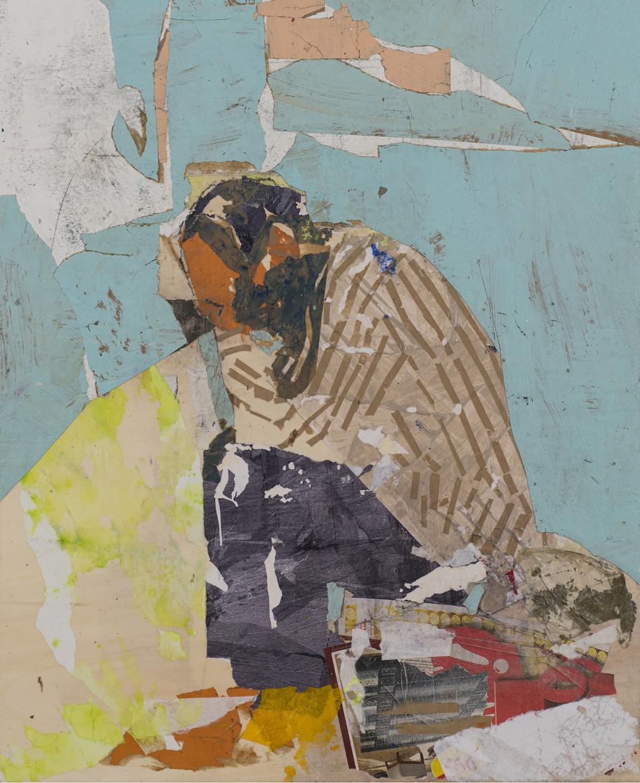 Tammam Azzam, Papiercollage auf Holz, 100 x 70 cm (2019)