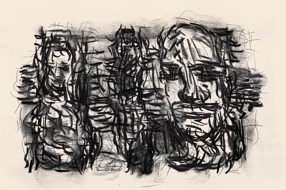 Zeichnung von Anas Homsi zum Text Gehorsam von Fady Yomar