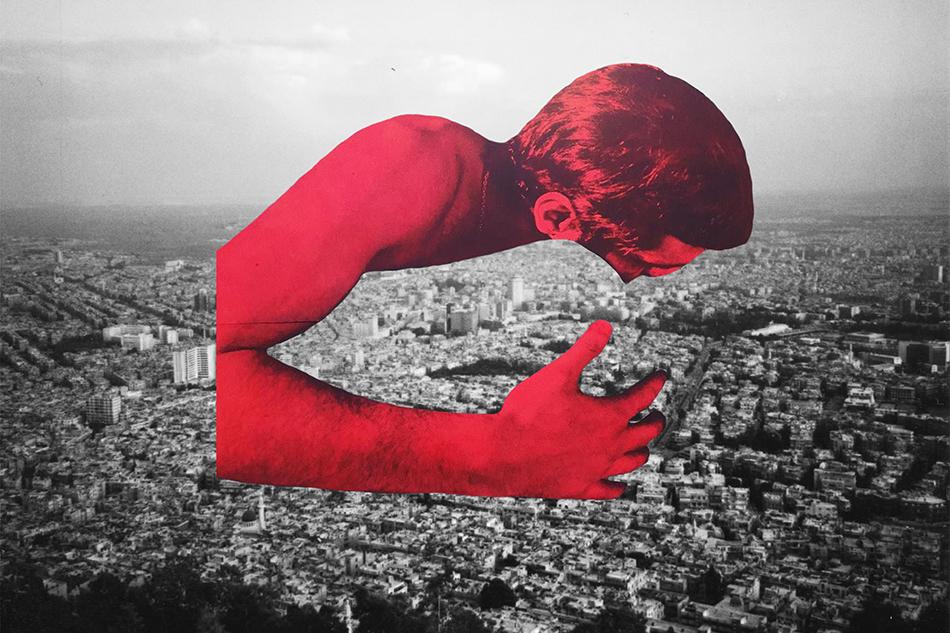 Bild eines roten Mannes, der Damaskus umarmt @ Adnan Samman, Hugging Damascus, Mixed media (2019)