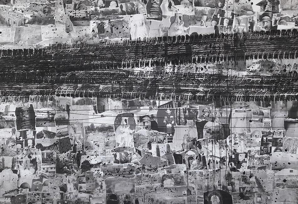 © Anas Al-Raddawi, The era of ignorance passed from here. Aus der Gruppe: The contemporary ignorance, 114x164 cm, Mischtechnik auf Leinwand