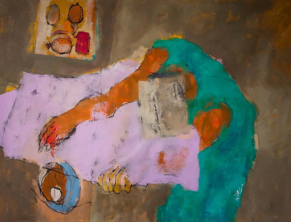 """Bild eines vornübergebeuten Mannes. Titel """"dialogue tables"""" zum Text von Osama AlDari @ Ala' Hamameh"""